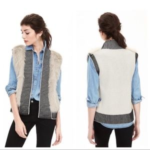 Banana Republic Faux Fur Wool Blend Sweater Vest
